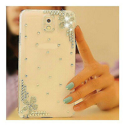 For Samsung Galaxy Phone Bling Crystal Rhinestone Flower Luxury Clear Hard Case