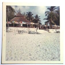 Vintage 60s Square Photo Beach Front Bar & Grill In The Bahamas
