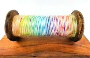Large-Spool-Vintage-Wooden-Primitive-Textile-Factory-10-034-H-with-Multicolor-Yarn