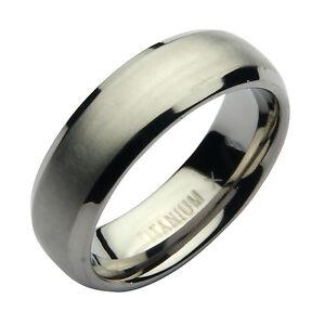 Titan Ring Herren Ehering 7mm Mattes Poliert Graviert I Love You