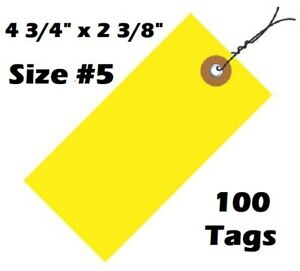 """Size #5 Wired Tyvek Tag 4-3/4"""" x 2-3/8"""", Pack of 100 Tags, Yellow, Weather Proof"""