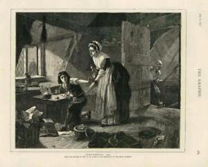 1873 - Antique Print FINE ART Chatterton Ward Royal Academy Boy Woman ( 038)