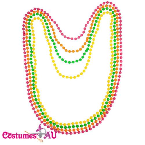 Beaded Necklace Ladies Neon Assorted 1980s 80s Disco 80/'s Costume Accessories