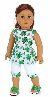 St Patrick/'s Day Top /& Capris Outfit for 18 inch American Girl Doll Clothes
