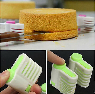2PCS 5 Layers Kitchen Cake Bread Cutter Leveler Slicer Cutting Fixator Tools