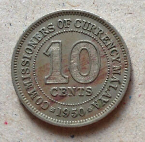 Commissioners of Currency Malaya 10 cents coin 1950