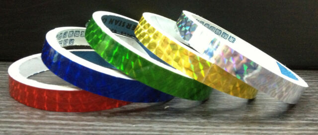 5 SET Gold/Yellow Red Green Blue Silver Holographic Colored Prism TAPE Hi Qlty!