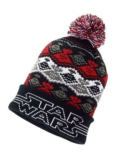 NWT Disney Star Wars Cuffed Youth Unisex Beanie Hat w Pom Pom Red Black