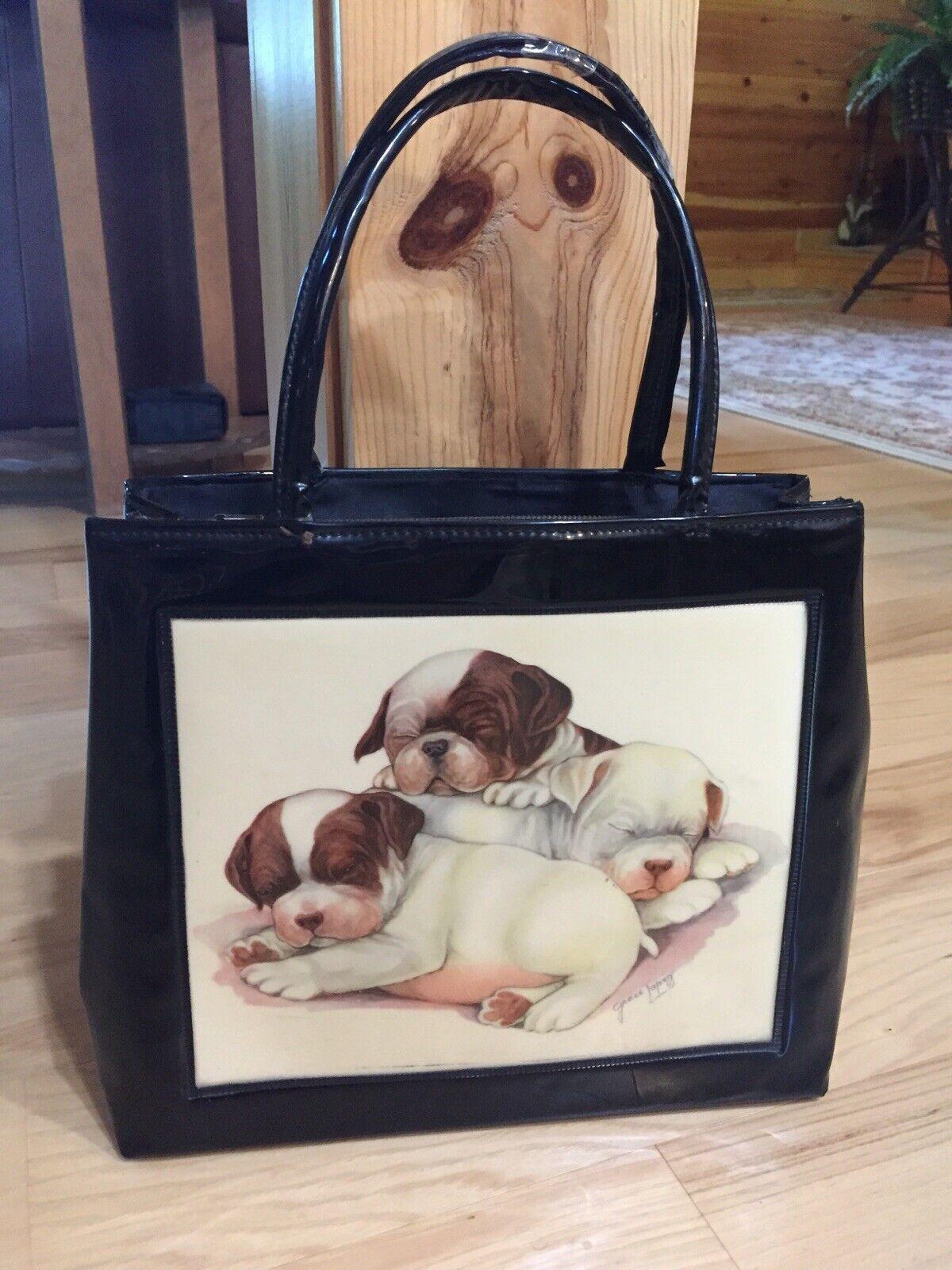 Vtg 50's Grace Lopez Boston Terrier Puppies Black Patent Satchel hand bag Purse