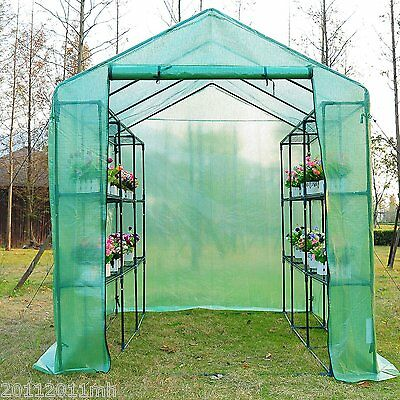 Outsunny 8'x6'x7' Portable Walk-In Greenhouse Garden Flower Plant Shed w/ Shelve