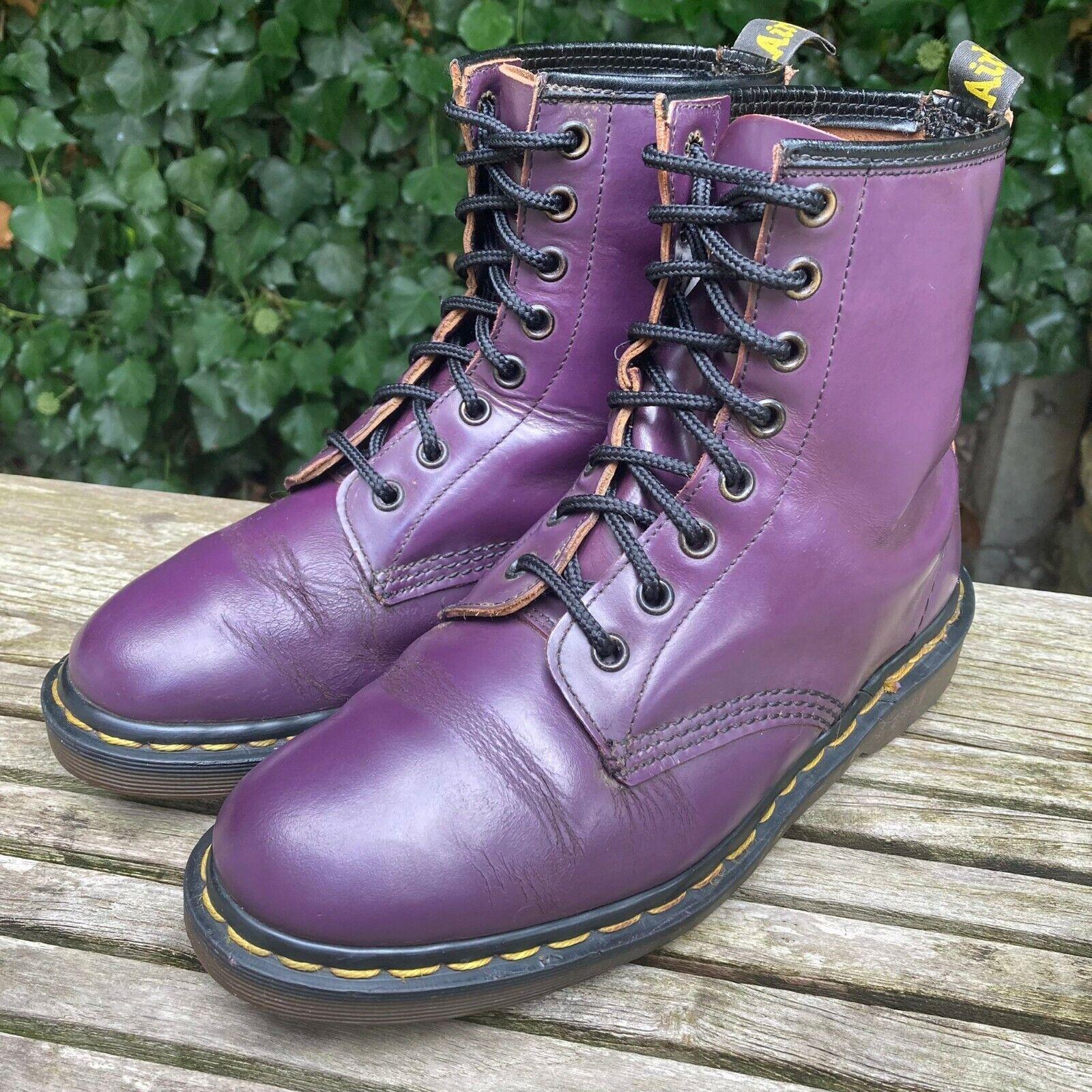 Vintage Dr Martens 1460 purple leather boots docs size UK 5 EU38 Made in England