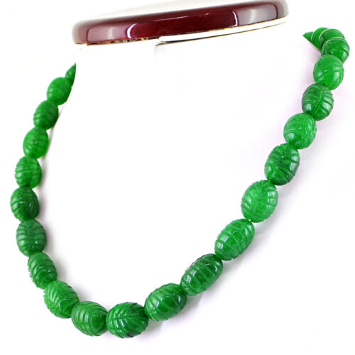 466.50 Cts Earth Mined Single Strand Green Emerald Oval Carved Beads Necklace