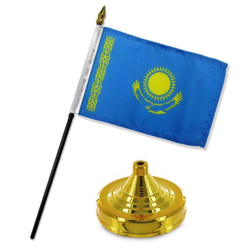 """Kazakhstan 4/""""x6/"""" Flag Desk Set Table Stick Gold Base"""