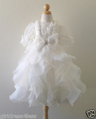 US Seller Ivory Off White Ruffled Skirt Short Sleeves Wedding Flower Girl Dress
