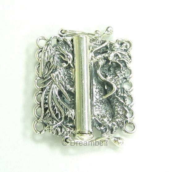 Sterling Silver  / 14k Gold Plated  7-strand Dragon Phoenix Pearl Box Clasp