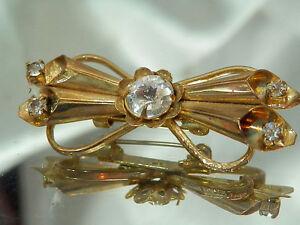 Super-Cute-Vintage-1940-039-s-Art-Deco-Rhinestone-Brooch-2426jl