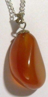 Pendentif Bijou Vintage Pierre Naturelle Orange Poli Chaîne Couleur Argent 106 Limpid In Sight
