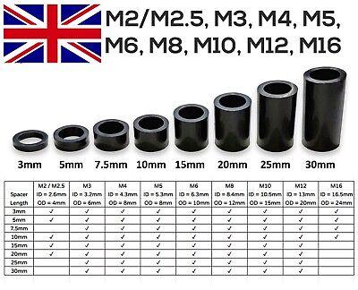 12 x Jet Black Nylon Plastic SPACERS Standoff Washer M2 M3 M4 M5 M6 M8 M10 M12