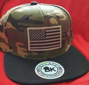 23aa1613be0 USA Flag Camouflage Baseball Cap Flat Bill Snapback Camo Hat Support ...