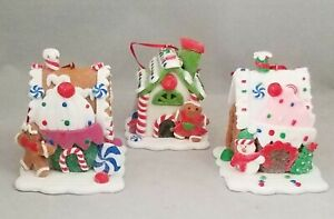 Candy-Ice-Cream-Gingerbread-House-Ornament-Set-3-Christmas-3-034-Kurt-Adler