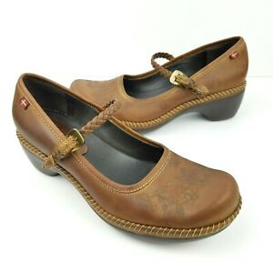 ECCO-Sussex-Floral-Mary-Janes-Women-039-s-EU-38-US-7-5-8-Leather-Strap-Shoes-Brown