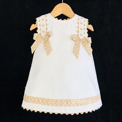 Fornitura * Vendita * Bella Wee Me Bambina Bianco Vestito Spagnolo Cammello A Pois Con Fiocco-mostra Il Titolo Originale