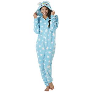 Sleep /& Co Womens Animal Hoodie One Piece Pajamas Aqua M #NJU47-769