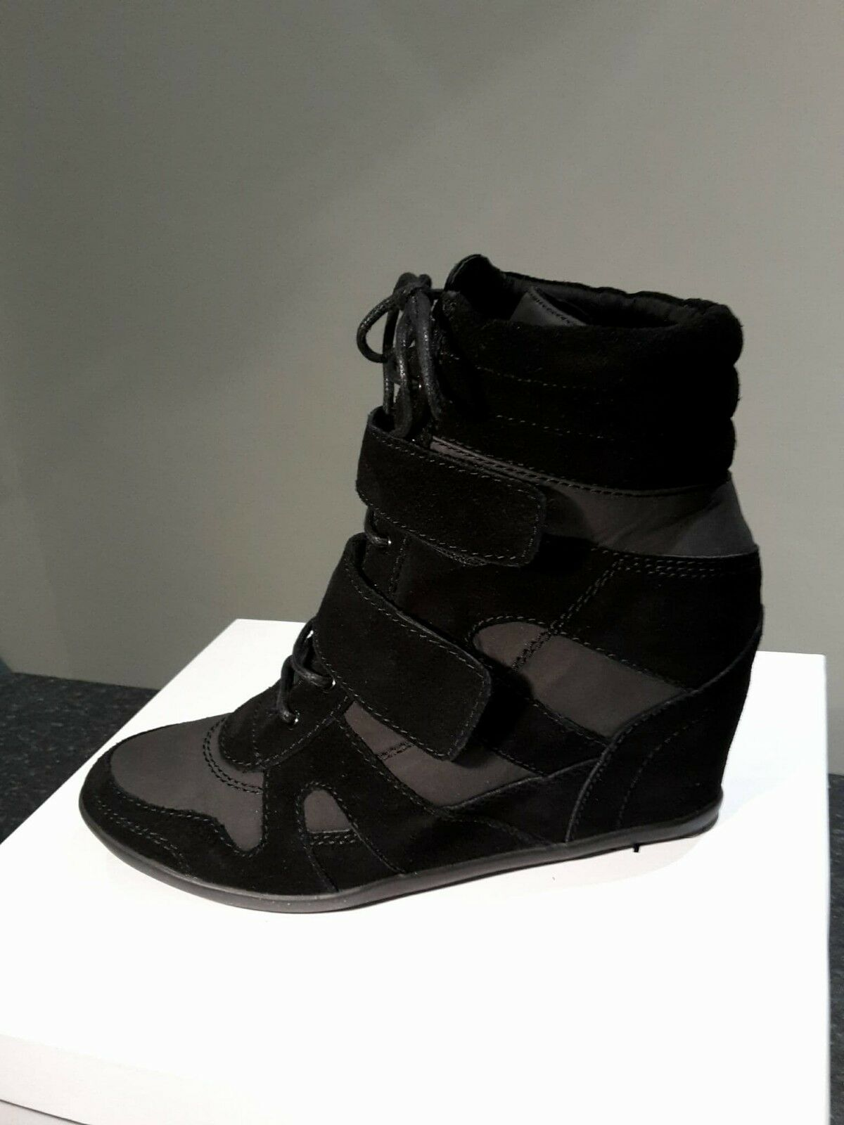 Black Ladies Designer Inspired Real Leather + Suede Wedge Trainers Black Size 7