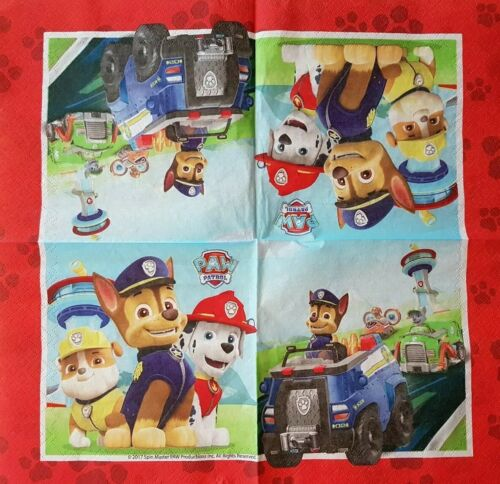 DECOUPAGE /& CRAFTING 4 x PAW PATROL PAPER NAPKINS  for TABLE
