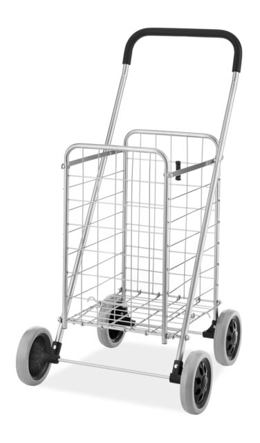 d85ce52cb961 Folding Shopping Cart Whitmor Rolling Utility Wheels Laundry Grocery Travel