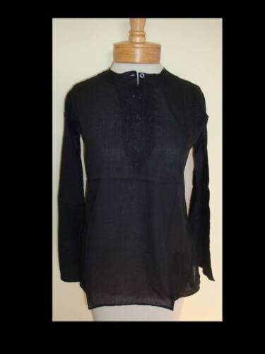 New/_Boho Kurta/_Smooth Cotton Hand Embroidered Tunic Top/_XS-S/_Black