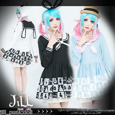lolita japan alice in wonderland poker solider sailor collar Lsleeve dress 81611