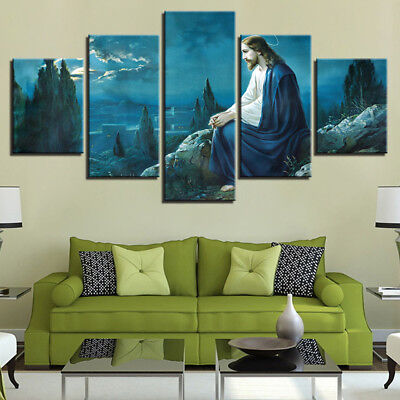 Original Decorations Art for Bedroom Living Room Home Decor Art HD Print Oil Painting on Canvas,Jesus Christ In Heaven 12x16inch,Framed