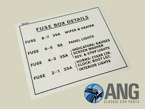 rover p6 2000  2200  3500 v8 fuse box information sticker  decal  586187  ebay top gear rover sd1
