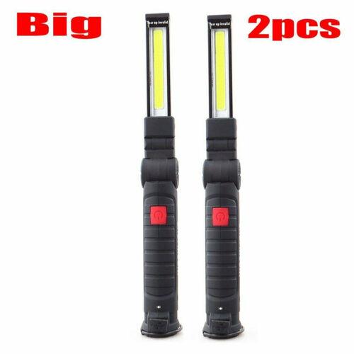 2stk COB LED Taschenlampe Arbeitslampe Magnet Leuchte Handlampe wiederaufladbar
