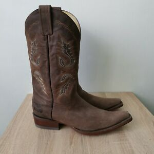 Rudel Rogers Leather Western Cowboy Boots Men's brown size - 8