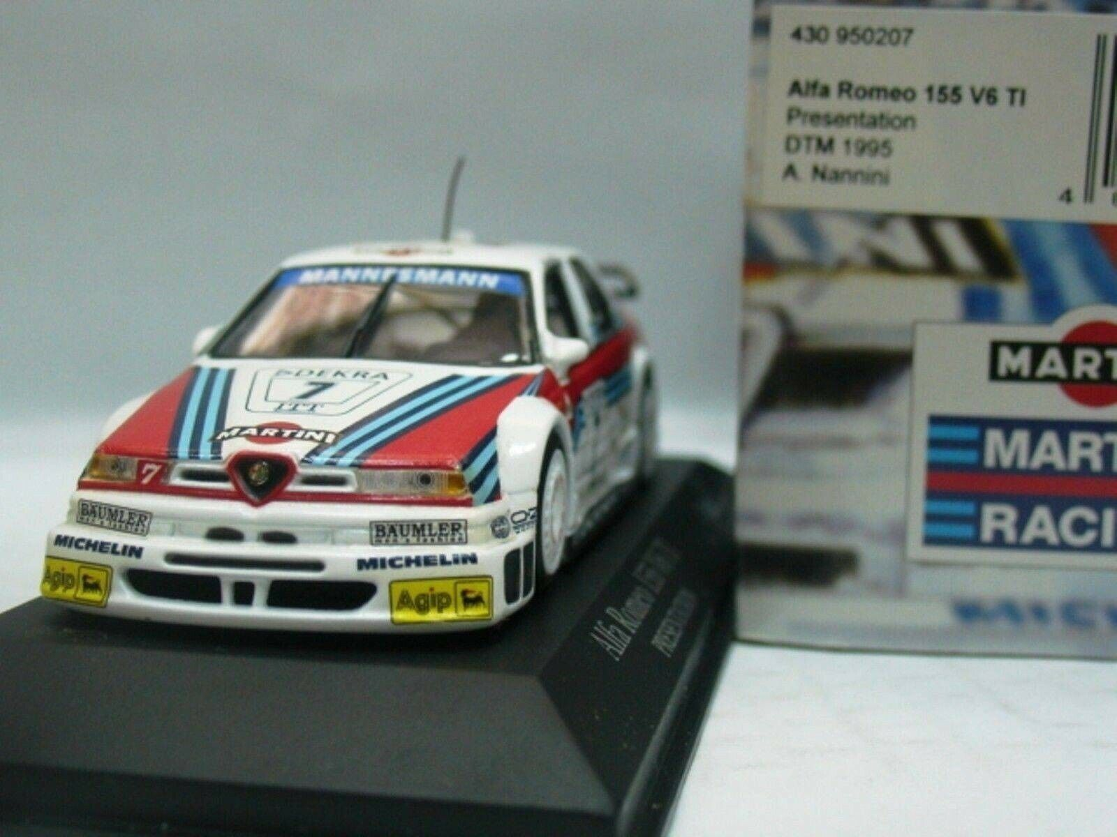 Wow extremadonnate raro de Alfa Romeo 155 V6 DTM 1995 Nannini presen 1 43 Minichamps