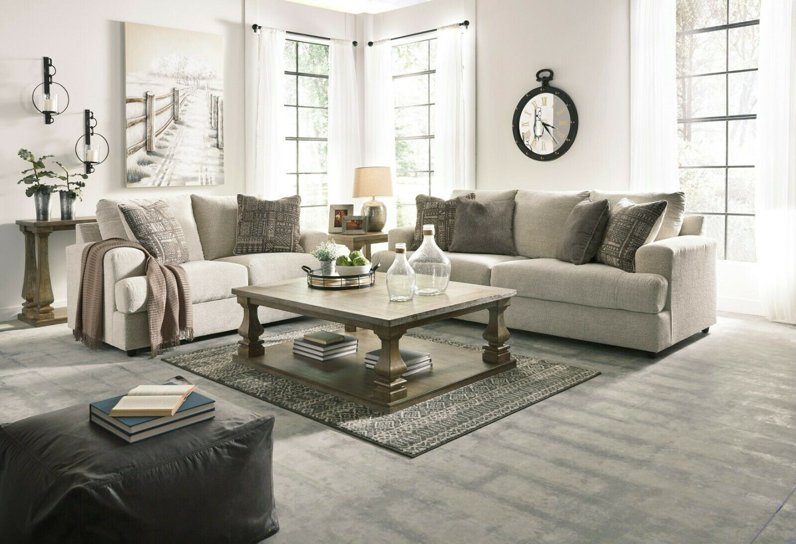 Ashley Furniture Soletren Stone Sofa And Loveseat Living Room