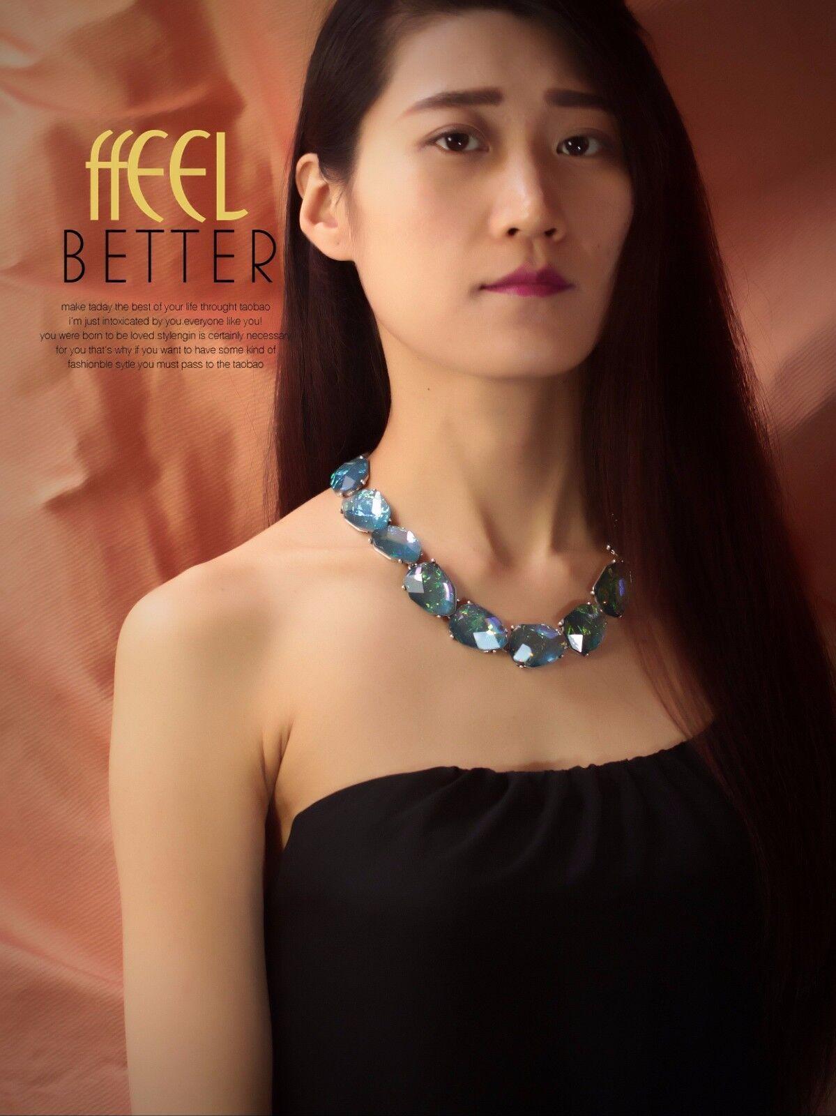 Halskette RAS Hals golden Cabochon facettiert blue green Tropf unregelmäßigen az