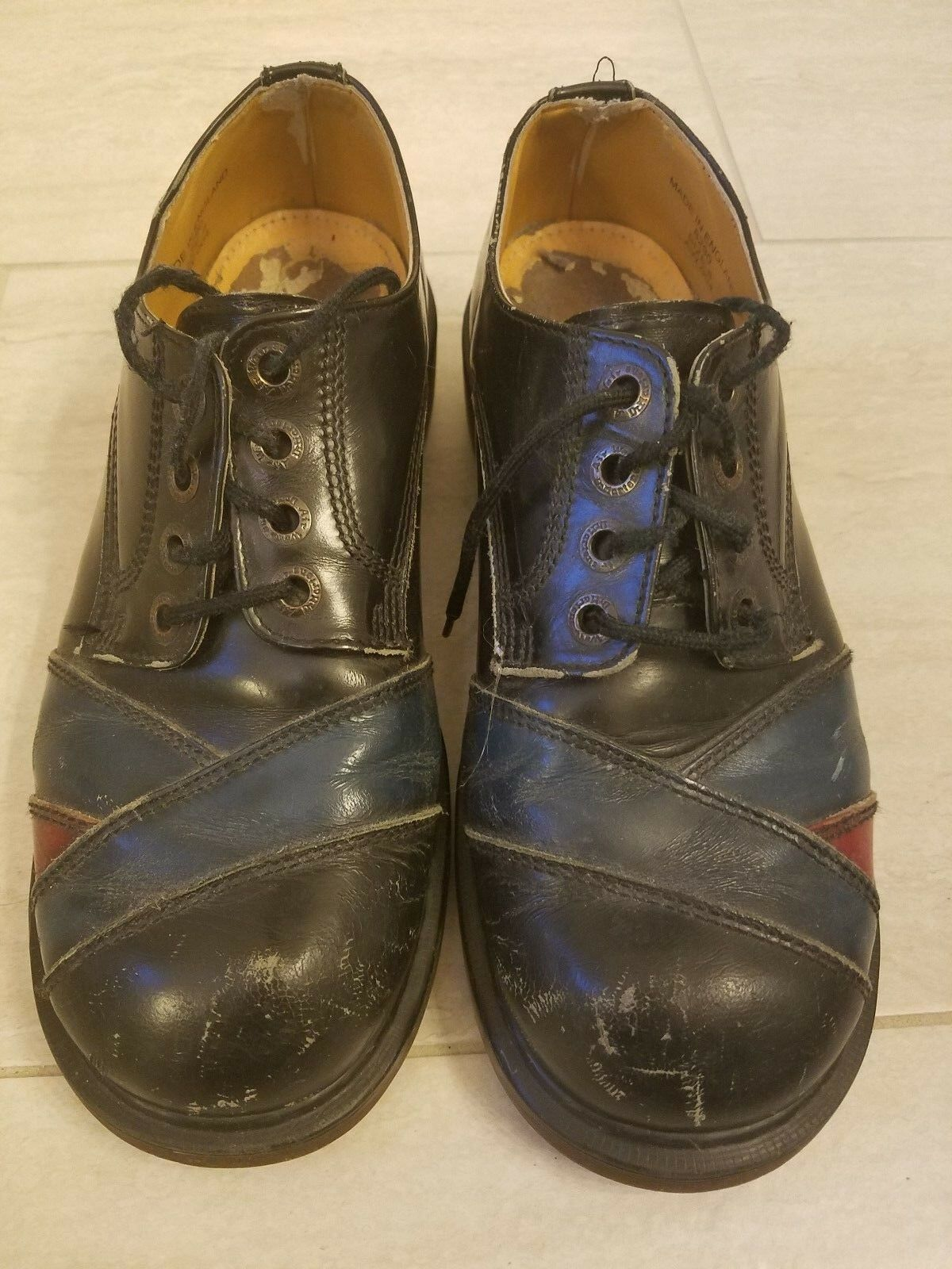 Rare Vintage Doc Dr. Martens shoes Black bluee & Red 80s Size 8 Creepers England