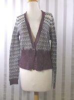 Moda International Sweater Medium Mohair Purple/gray V Neck Long Sleeve