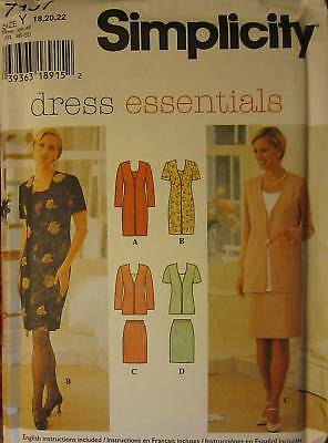 7107 Uncut Simplicity Sewing Pattern Misses Dress Top Skirt Sew Oop Ff New Nos