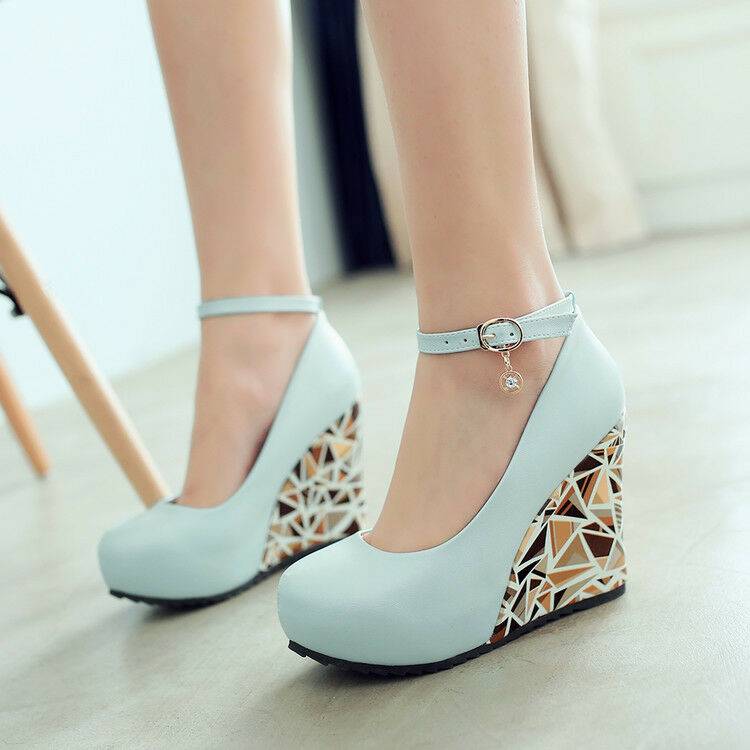 Ladies Wedge Floral PU Leather Round Toe Ankle Strap Solid Rhinestone shoes Size