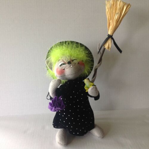 "Annalee Doll Witch Mouse with Broom, Frog, Potion Bag 13.5"" Tall to Tip of Broom"
