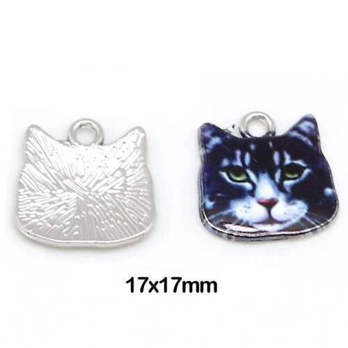10pcs Earrings Making Alloy Glaze Pendant Cute Cat//Owl//Leaves Jewelry Findings