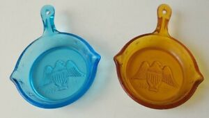 Vintage-Amber-amp-Blue-Glass-Ashtray-American-Eagle-Pan-Skillet-Cigars