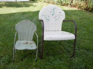 Prime Details About Vintage Original Childs Metal Clamshell Back Outdoor Chair Porch Patio Lawn Alphanode Cool Chair Designs And Ideas Alphanodeonline