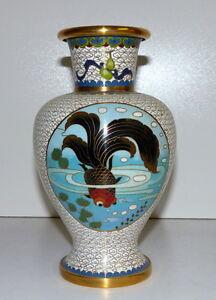 Chinesische-Cloisonne-Vase-Emailtechnik-20-Jahd-Messing-Goldfisch-21-0-cm