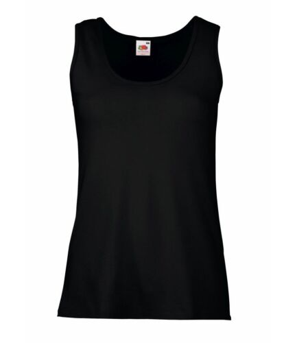 Fruit of the Loom Black Ladies Vest Top Brand New Stock Clearance
