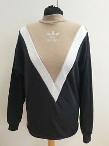 J511-WOMENS-ADIDAS-ORIGINAL-BLACK-BEIGE-CREW-NECK-L-SLEEVE-JUMPER-UK-8-EU-36